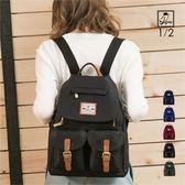 後背包1/2princess防潑水高磅尼龍配真皮雙排扣後背包-5色 [A2734]