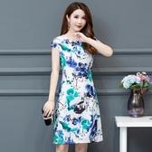媽媽夏裝闊太太洋裝高貴大尺碼新款中老年女40歲大碼洋氣棉綢裙子 L-5-XL