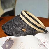 帽子夏天草帽遮臉潮空頂帽太陽帽沙灘遮陽帽時尚【不二雜貨】