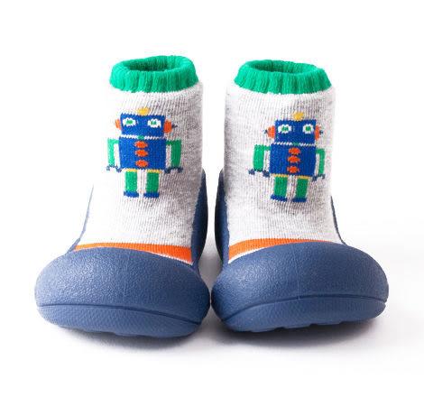 Attipas襪型學步鞋- 藍色機器人
