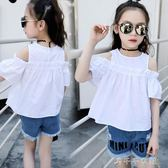 女童短袖t恤夏裝洋氣白色露肩體恤 半袖兒童上衣 千千女鞋