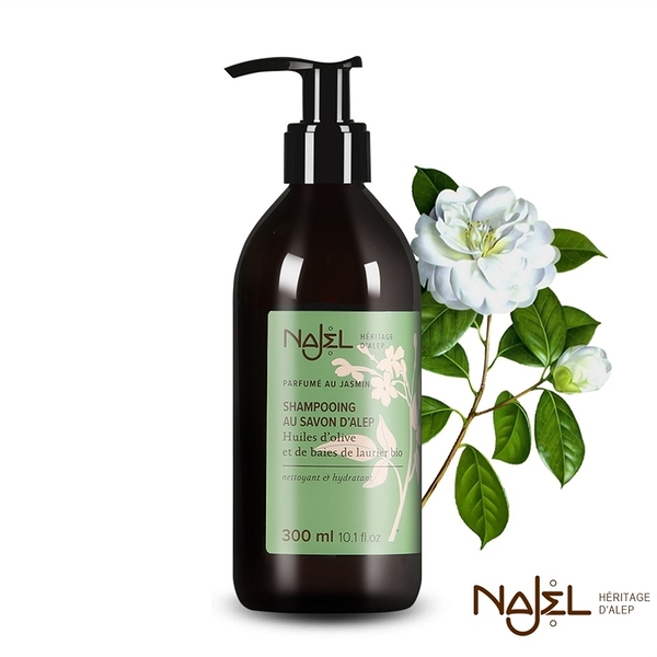 法國Najel 阿勒坡古皂液-淨透平衡頭皮SPA洗髮精 茉莉花 300ml 效期2021.06【淨妍美肌】