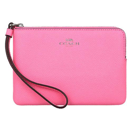 COACH專櫃新色霓虹粉紅皮革手拿包