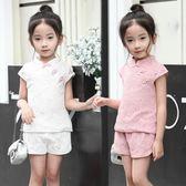 女童旗袍套裝夏款童裝純棉短袖唐裝寶寶蕾絲復古中國風短褲兩件套