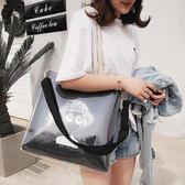 透明包單肩包女大包包容量新款潮百搭韓版文藝帆布包斜挎透明果凍包 伊莎公主