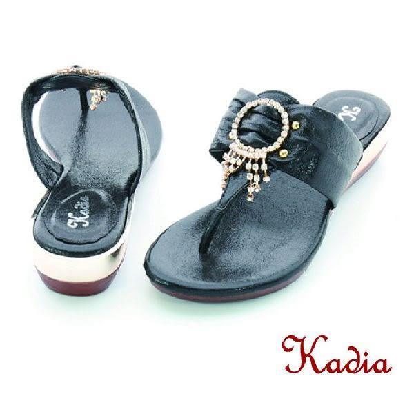 本週下殺★2016新品★kadia.華麗晶鑽低跟夾腳涼拖鞋(黑色)
