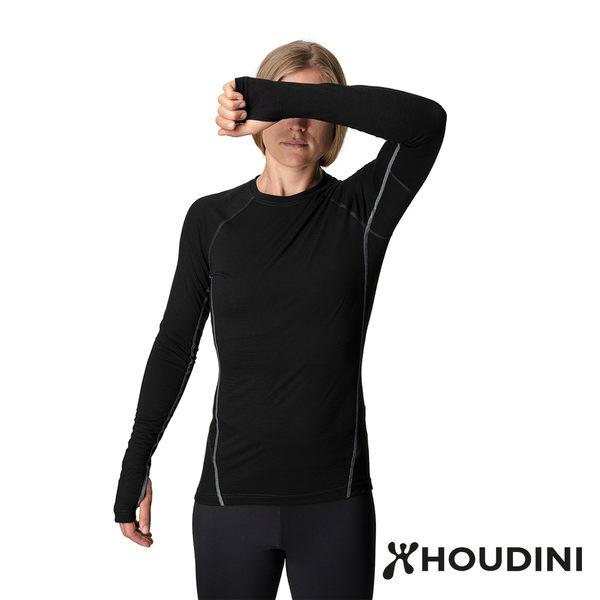 【瑞典 Houdini】Desoli Crew 休閒機能保暖圓領衫 女款 純黑 #158424