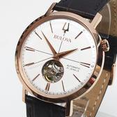 [萬年鐘錶]  BULOVA寶路華  經典 自動機械錶  象牙白錶面 玫瑰金殼 黑皮帶 男錶   97A136