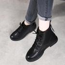 馬丁靴女2021年新款春秋單靴子女鞋軟底真皮鞋百搭平底短靴大碼41一米陽光