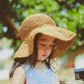 baby♀韓國女童草帽遮陽帽2018新款沙灘防曬兒童太陽帽寶寶涼帽夏 美芭