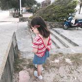 女童T恤 夏季新款女童短袖女寶寶短袖t恤1-2-3歲純棉體恤露背上衣潮  中秋節下殺