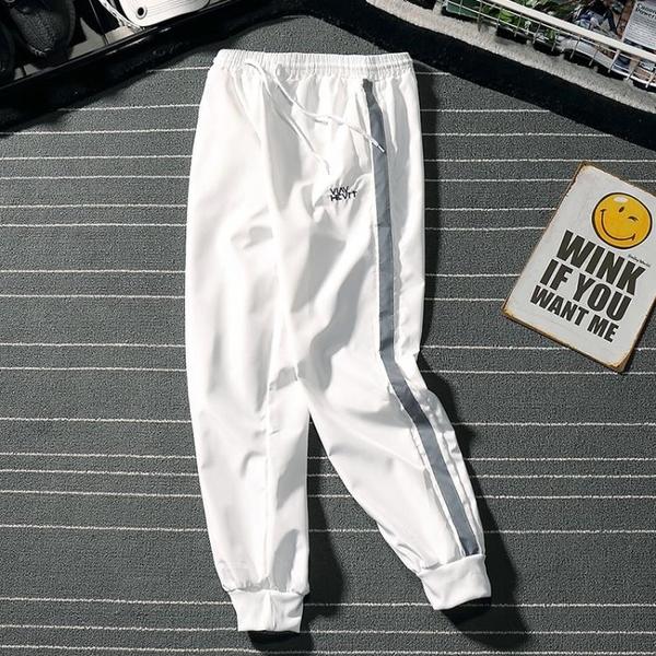 運動褲 哈倫褲男潮牌束腳寬鬆輕透速干嘻哈長褲直筒束腳褲 3c公社