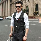 馬甲男英倫韓版潮流修身小休閒薄款西裝西服夏季格子男士工裝外套 後街五號