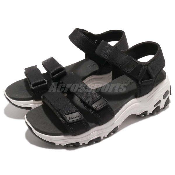 Skechers 涼鞋 D Lite Fresh Catch 黑 白 魔鬼氈 吸震中底 女鞋 涼拖鞋【PUMP306】 31514BLK