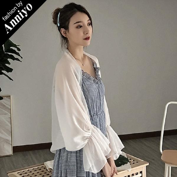 Anniyo安妞‧夏季氣質百搭必備寬鬆薄款舒適質感閃光紗雪紡防曬罩衫披肩長袖空調衫外套 白色