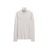 Gap女裝半高領套頭T恤打底衫499022-燕麥色條紋