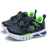 SKECHERS  LIGHT FLEX 黑藍 螢光綠 魔鬼氈 發光鞋 燈鞋 童鞋 小童(布魯克林) 90543NBKLM