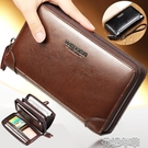 皮夾錢包新款男士手包手拿包大容量男包手抓包雙拉鏈錢包手機包 快速出貨
