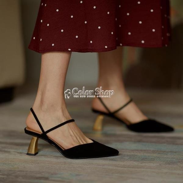 原創設計!新款包頭涼鞋女半拖鞋后空尖頭V口高跟鞋 快速出貨