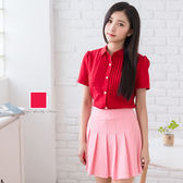 制服襯衫/U型細折亮釦短袖襯衫【Sebiro西米羅男女套裝制服】028006027