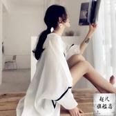 防曬衣 罩衫女中長款寬鬆百搭韓版夏季很仙的時尚洋氣雪紡開衫薄款外套-免運直出