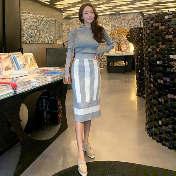 歐媛韓版 針織套裝裙新款 韓版女神範休閒連帽衛衣 高腰包臀半身裙兩件套洋裝