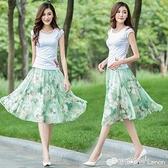 裙衣彩夏季雪紡半身裙中長款碎花顯瘦半身中裙百褶A字大擺女短裙 雙十二全館免運