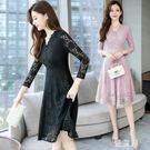 蕾絲洋裝春季新款韓版V領蕾絲連身裙女長袖...