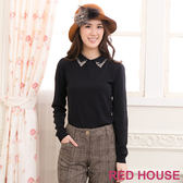 【RED HOUSE-蕾赫斯】素色領片貼鑽毛衣(黑色)