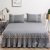 夏天純色蕾絲床裙式床罩單件荷葉花邊防滑1.8x2.0m床套防塵保護套 小時光生活館