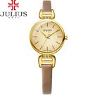 JULIUS 聚利時 絲柔曙光簡約皮革錶帶腕錶-香檳金/26mm 【JA-925B】
