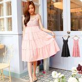 洋裝--女性時尚風格串珠寶石蕾絲肩帶蛋糕長裙/洋裝(黑.粉S-XL)-D327眼圈熊中大尺碼★
