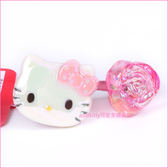 asdfkitty可愛家☆KITTY大臉造型粉玫瑰彈力髮束/髮飾/髮圈-日本正版商品