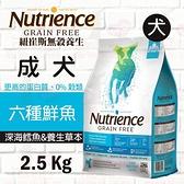 PRO毛孩王 紐崔斯Nutrience 養生飼料 無榖養生犬-六種魚-2.5kg 無穀 狗飼料 犬飼料
