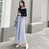 2018新款網紗中長款蕾絲百褶裙仙女半身長裙夏季 SG4737【極致男人】