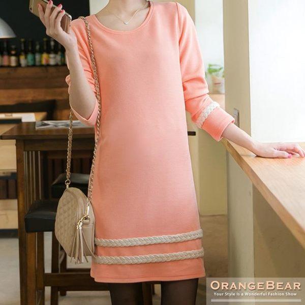 OrangeBear《DA2192》甜美法式~質感面料X編織麻花邊長版上衣.2色--適 XL~5L