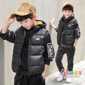 童裝男童冬裝刷毛套裝2018新款兒童金絲絨秋裝連帽T恤三件套韓版潮衣