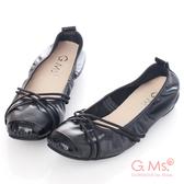 G.Ms.* MIT系列-牛皮交織皮帶芭蕾舞娃娃鞋*時尚黑