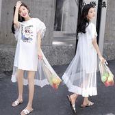 網紗假兩件溫柔仙女裙顯瘦T恤裙少女拼接裙子