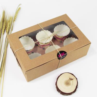 6入 開窗 牛皮紙方盒 馬芬瑪芬盒 杯子蛋糕 蛋糕盒 慕斯 奶酪 月餅盒 手提盒 禮盒 蛋塔盒 布丁盒