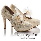 ★2016秋冬★Keeley Ann璀璨光芒蕾絲花朵腰封新娘高跟鞋(金色)