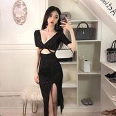洋裝小禮服夜店酒吧女裝性感低胸V領鏤空漏腰宴會閃亮側開 【新品特惠】