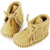 MINNETONKA 卡其色一體成形流蘇繫帶莫卡辛 嬰兒短靴(展示品)