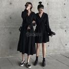 2020春裝新款收腰雪紡洋裝女秋黑色長袖流行閨蜜裝氣質顯瘦裙子 小城驛站