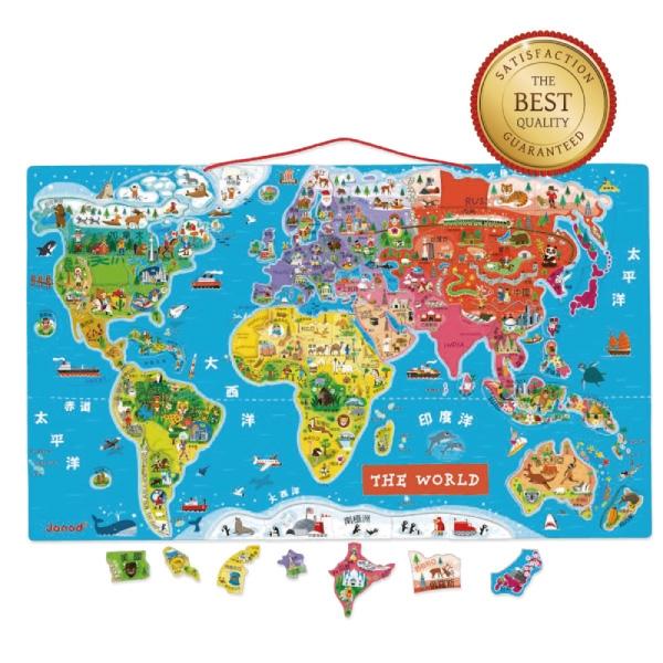 法國Janod 磁性木質拼圖-世界地圖(中文版)