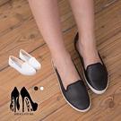 [Here Shoes]2色 舒適皮革質感 素面休閒款平底包鞋 娃娃鞋好穿脫 小厚底休閒鞋 ◆MIT台灣製─KBC-1851