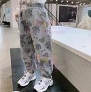 童裝收口黑褲子兒童洋氣運動褲女童卡通長褲【聚可愛】