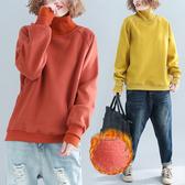 大碼女裝秋冬新款加絨帽T胖mm百搭高領上衣洋氣加厚假兩件打底衫