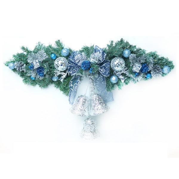 聖誕幸福雙鐘裝飾樹藤(藍銀色)(大型)(壁飾門飾)