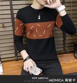 秋季長袖印花毛衣男士韓版修身圓領新款個性針織衫線衣打底衫 莫妮卡小屋